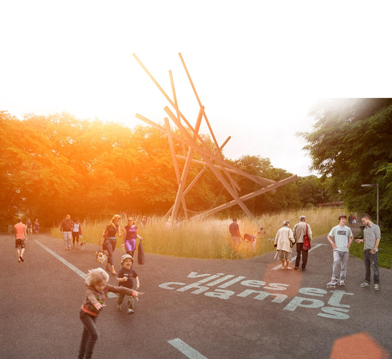 Genève Villes et Champs, temporary landscape intervention in Bois-de-la-Bâtie parc / Kuník de Morsier architectes